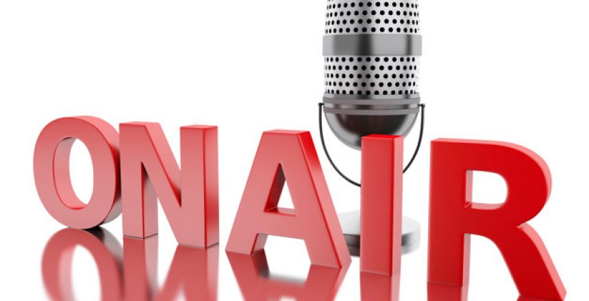 3d renderer image. On air word with a microphone. Isolated white background.