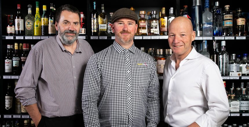 LSAWA CEO Peter Peck, Nedlands Liquor Barons owner Timon Andrijasevic and Chris O'Brien